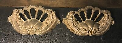 Pair of Heavy Ornate Brass Antique Victorian Drawer Pulls