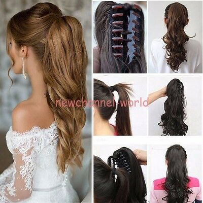 100% Real Thick New Clip In human Hair Extension Pony Tail Claw Jaw Ponytail ncw