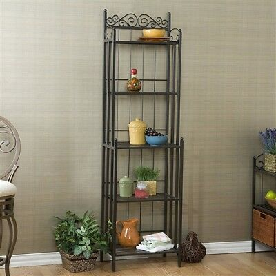 Narrow Wrought Iron Bakers Rack With 5 Shelves Kitchen Storage Organizer