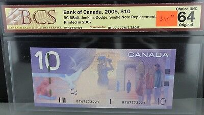 Canada 2005 $10.00 Replacement Note, BCS Certified CUNC-64 Original
