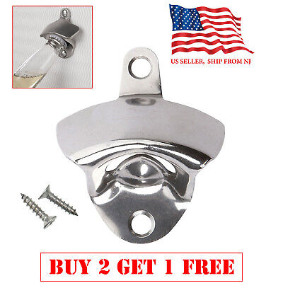 Stainless Steel silver Wall Mount Beer soda Bottle Opener with  Mounting Screws