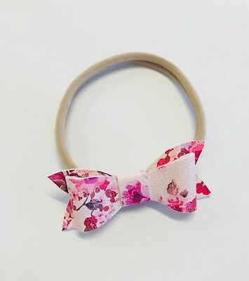 Nylon Leather Bow Newborn Baby Girl Toddler Kids Stretch Headband
