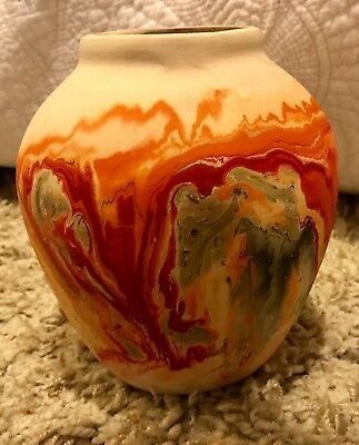 Vintage NEMADJI Native Indian Clay Swirl Art Pottery Vase, Made in USA