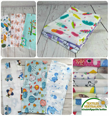 3 x  SOFT LARGE MUSLIN SQUARES Baby Boy Girl Unisex 100% COTTON Made in EU