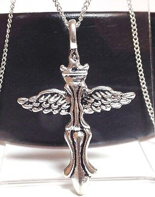 "WINGED CROSS_Pendant on 20"" Chain Necklace_Medieval Silver Goth Christian_222N"