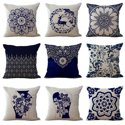 Vintage Chinese Style Porcelain Flower Throw Pillow Case Home Sofa Cushion Cover