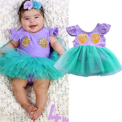 f70d20a839c3 Princess Newborn Baby Girl Mermaid Romper TuTu Dress Skirt One Piece  Jumpsuit US
