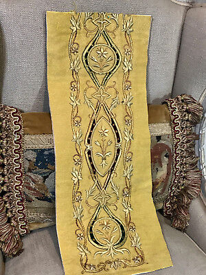 Antique French Goldwork Metallic Embroidery  Panel Vine Leaves