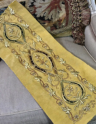 Antique French Gold Metallic Embroidery Stumpwork Panel Vine Leaves