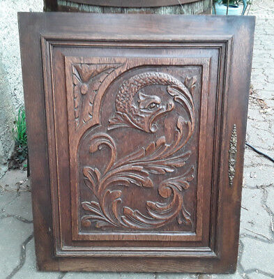 Antique French Wood Carved Panel Door Dragon Chimera Griffin Gothic N°2