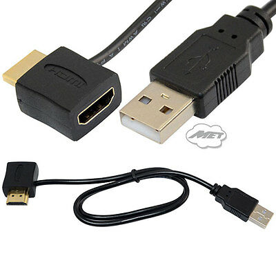 HDMI Male To Female Adapter Connector with 50cm USB 2.0 Power Cable Cord Lead