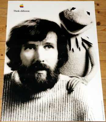 APPLE POSTER *THINK DIFFERENT * JIM HENSON + KERMIT * 28/20 inches MINT