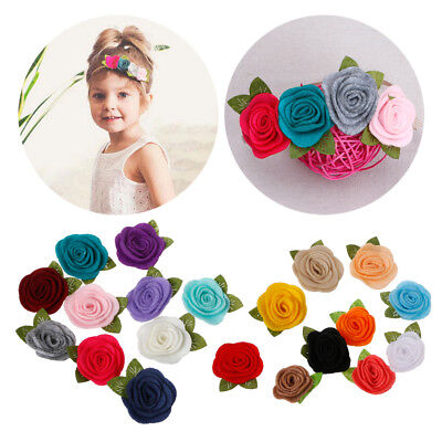 Handmade Felt Rose Flower Diy for Baby Girl Headband Hats Hair accessories 10Pcs