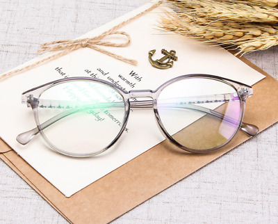 Transparent Grey Glasses Frames PC art Full-rim Eyeglasses Women Men Clear lens