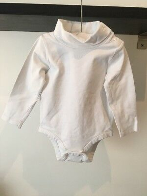 The White Company Baby Unisex White Roll Neck Top, Size 3-6 Months