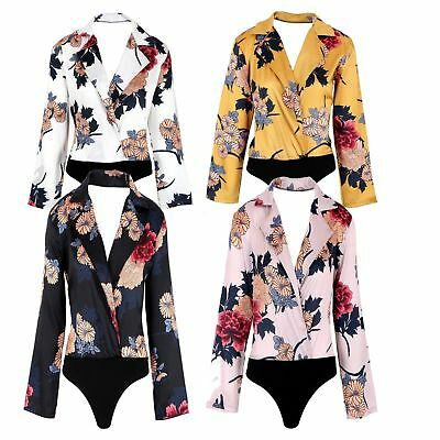 New Womens Ladies Stain Floral Print Collar Wrap Over Party Bodysuit Leotard Top