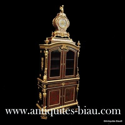 Cabinet secretary with Clock in marquetry Boulle 19th Napoleon III period