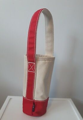 LANDS END Canvas Single Bottle Wine water bottle Tote Carrier Bag beige red