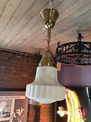 Antique Art Deco Pendant Ceiling Light Milk Glass Shade Brass Canopy And Chain