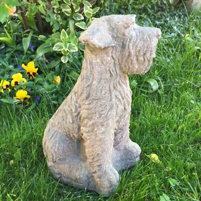 Adorable French Salvaged SCHNAUZER Stone DOG STATUE In/Outdoors Door Stop