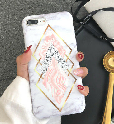 Phone case for iphone XS MAX XR 6 6s 7 8 plus X Geometry Splice Marble Soft tpu