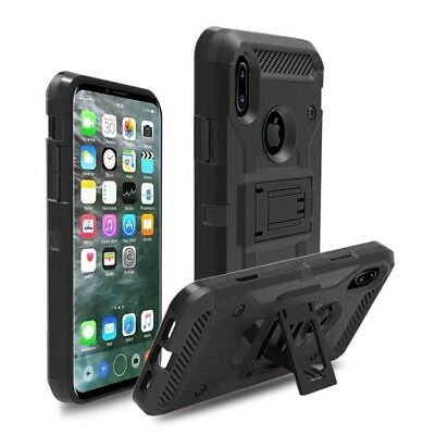 Hybrid Armor Shockproof Rugged Bumper Case For Apple iPhone X  - Black - New