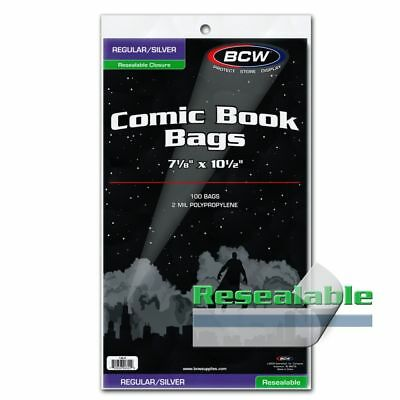 Pack of 200 BCW RESEALABLE SILVER Comic Book Poly Bags -Archival Safe Acid Free