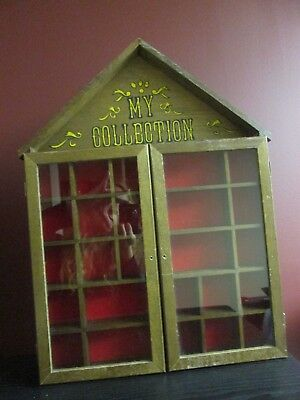 "WOOD CURIO CABINET for Smalls MINIATURES ""My Collection"" vintage Needs knobs TLC"