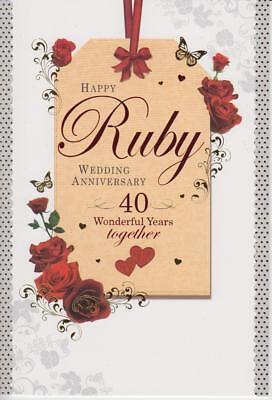 Hy Ruby Wedding Anniversary 40 Wonderful Years Together Foiled Greeting Card