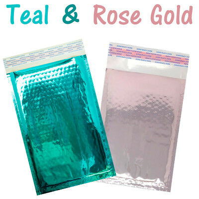 4x8 Teal, Rose Gold Metallic Padded Bubble Mailers, Shipping Envelopes Self Seal
