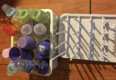 Lot 14 Baby Bottles & Cleaning / Drying Rack Sip Cups Mixed Lot Infant Feeding