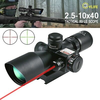 CVLIFE Rifle Scope 2.5-10x40 e Red & Green Illuminated Hunting Gun Scopes