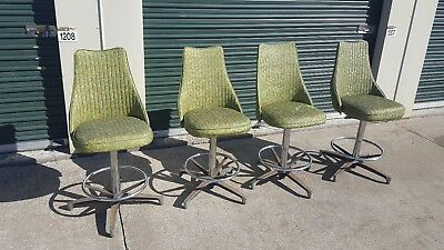 Set of 4 Vintage  Mid Century Modern Chromcraft Bar Stools Green Vinyl Chrome
