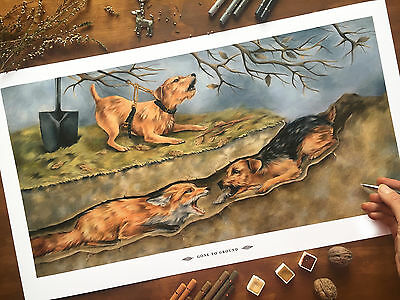 """""""Gone to Ground"""" Working terrier print Limited edition"""
