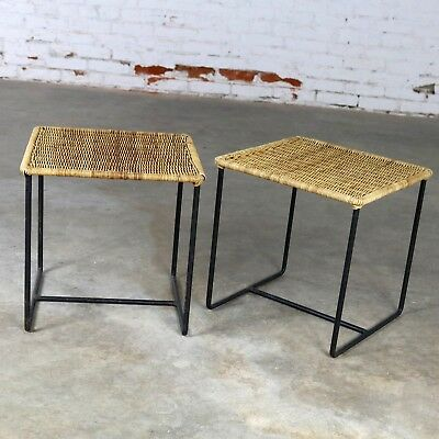 Calif-Asia Style Wrought Iron and Rattan Side Tables Mid Century Modern a Pair