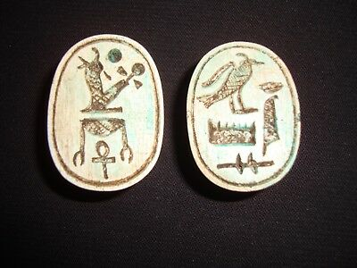 Rare Antique Ancient Egyptian 2 Scarab Beetle New Kingdom HIEROGLYPHS 600-300 BC