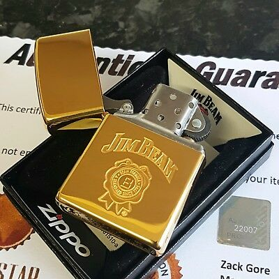 24ct Gold Plated Metal Petrol Jim Beam Zippo Lighter Flint Gift Boxed Whiskey