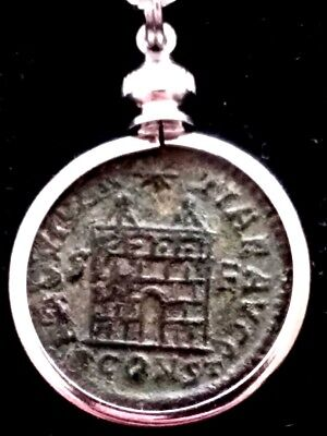 RARE Constantine Great 5 Layer Camp-Gate Genuine AE3 Ancient Roman Coin Pendant