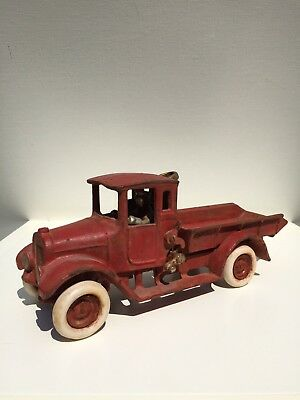 Large Pulley Cast Iron Dump Truck Marked ARCADE MFG CO