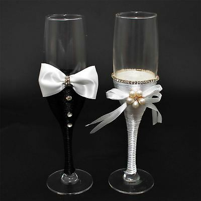 Wedding Bride & Groom Champagne Glasses Gifts flutes Party Supplies Mr Mrs