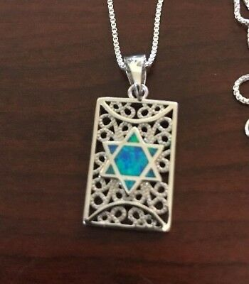 "Jewish Star Of David Pendant Sterling Silver With Blue Opal 18"" Silver Necklace"