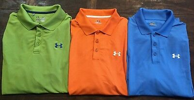 UNDER ARMOUR lot Of 3 Men's Polo Golf Shirts Large EUC