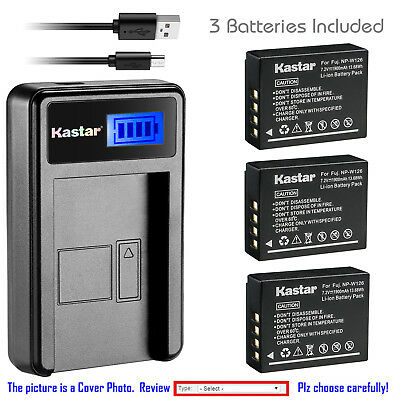 Kastar Battery LCD USB Charger for Fuji NP-W126 NP-W126s & Fujifilm X-T1 Camera