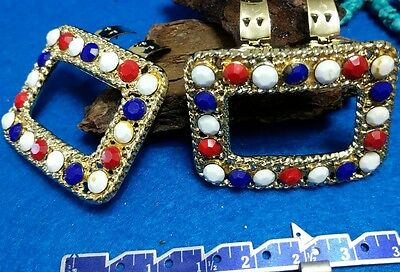 2 Red white and blue stones shoe scarf dress clip gold tone