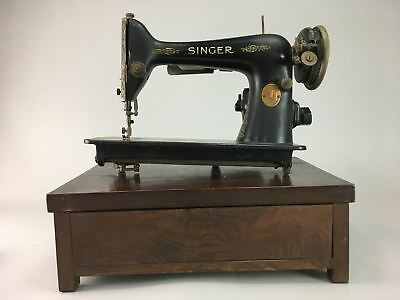 J573 Vintage Singer Sewing Machine Black 1930 AC Matching Stand Gold from Japan