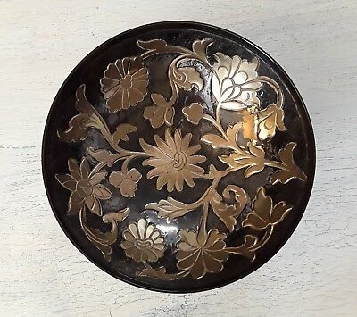 Decorative Brass Bowl Vintage Flower Pattern Beautiful From India