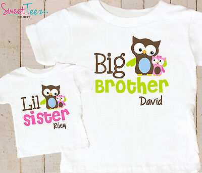 Big Brother Little Sister Shirt Set Personalized Owl Gift for Baby
