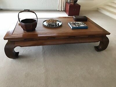 chinese opuim table/ bed with raffen inlay