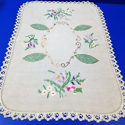 Vintage  Hand Embroidered Linen Centre Piece / Doily - Crochet Lace Edged