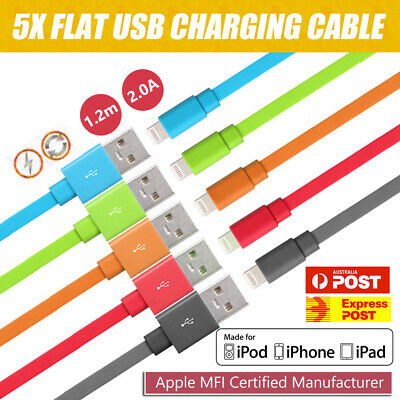 5 X Genuine USB Cable Charger for Apple iPhone X 8 7 6s iPad Nylon 1.2M Cord